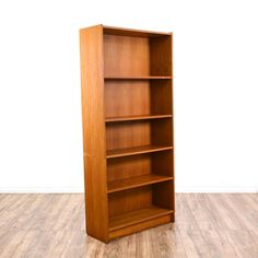 This Danish Modern Bookcase Is Featured In A Solid Wood With Glossy Teak Finish Tall Bookshelf Has 5 Shelf Tiers And Simple Sleek Design