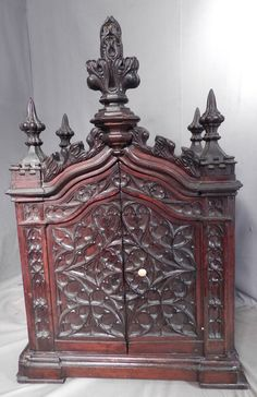 Antique Crawford Riddell Gothic Revival American Collector Cabinet Inlaid  Carved | eBay