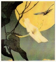 Alice Ravenal and Huber Smith. Moon Flower and Hawk Moth. woodcut 1917.