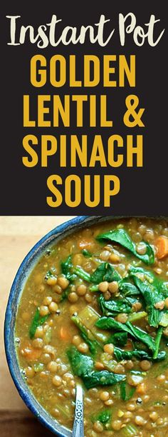 My new favorite Lentil soup Recipe! Instant Pot Vegan Golden Lentil & Spinach Soup recipe - Lentils, turmeric, and spinach team up in this flavor-packed soup that cooks up super easy - right in the pressure cooker. Instant Pot Pressure Cooker, Pressure Cooking, Lentil Soup Pressure Cooker, Whole Food Recipes, Cooking Recipes, Dinner Recipes, Easy Cooking, Catering Recipes, Cooking Ribs