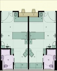 A floor plan of the acuity-adaptable single-bed rooms. Research shows that such rooms reduce medication errors and keep patients and staff safer. MultiCare Good Samaritan.: