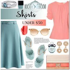 Skirts Under $50 (A-line skirt+Wedge sandals)
