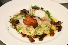 Boknafisk med kremet kål og bacon Risotto, Nom Nom, Bacon, Low Carb, Meat, Chicken, Ethnic Recipes, Happy, Cod