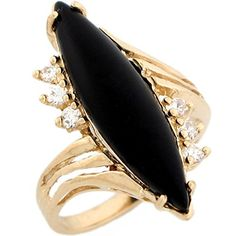 14k Real Yellow Gold Marquise Onyx with CZ Accent Ring ** For more information, visit image link.
