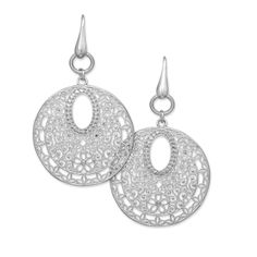 Rhodium Plated Large Ornate Filigree Drop Earrings with Crystal Accents
