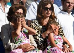 Mirka, Momma Fed,  the Girls after the Wimbledon Final 7 July 2014