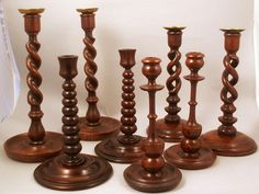 Collection of English Oak Candleholders