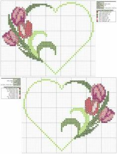 ~ punto croce by hand Wedding Cross Stitch, Cross Stitch Heart, Cross Stitch Borders, Cross Stitch Flowers, Cross Stitch Designs, Cross Stitching, Cross Stitch Embroidery, Hand Embroidery, Cross Stitch Patterns
