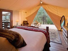 """Sleep outdoors without sacrificing luxury at a """"glamping"""" — glamorous camping — accommodation, like Montana's Resort at Paws Up."""