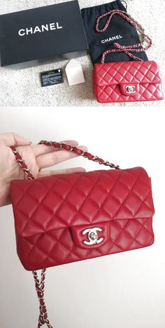 0adcb70b31a7 CHANEL Red Lambskin Classic Mini Flap Bag! Rectangle Silver Chain! SOLD OUT  Auth $3000.0