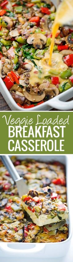 Veggie Loaded Breakfast Casserole - made with hash browns and all your favorite veggies! Add in rotisserie chicken, crumbled sausage or anything else you please - it's totally customizable! Gotta love this breakfast casserole recipe! Veggie Breakfast Casserole, Breakfast Desayunos, Breakfast Dishes, Breakfast Healthy, Breakfast Burritos, Breakfast Potatoes, Breakfast Quotes, Paleo Egg Casserole, Healthy Breakfasts