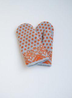 Polka dots. Mittens 100% wool. Knit-felted. Light blue/orange, Flowers