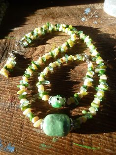 green medley set with new olive jade, coral, mother of pearl, glass, ceramic by DesisDesignsShop on Etsy
