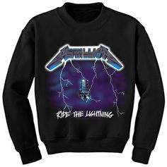 Metallica Ride The Lightning Crew Neck Sweatshirt Rock Metal S M L Xl Sweater Hoodie, Zip Hoodie, Crew Neck Sweatshirt, T Shirt, Graphic Sweatshirt, Ride The Lightning, Metal Shirts, Band Hoodies, Heavy Metal Bands
