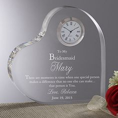 To My Bridesmaid Personalized Heart Clock