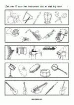 Werkblad Muziekinstrumenten - Welk instrument hoort er niet bij?