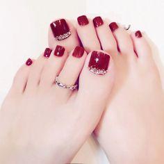 24 pcs/set Silver chain star summer toes finished fake nails – My CMS New Nail Designs, Pedicure Designs, Manicure E Pedicure, Manicure Ideas, Pedicures, Pretty Toe Nails, Cute Toe Nails, My Nails, Bling Nails