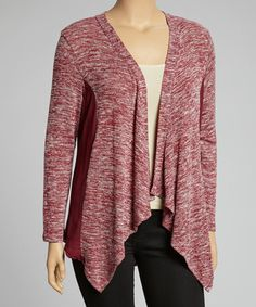 Take a look at this Burgundy Marled Sheer Open Cardigan - Plus by Spin on #zulily today!