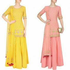 MONIKA NIDHII - buttercup/pink floral embroidered Kurta And Sharara Pants Set