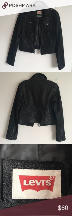 Levi's Leather Jacket Beautifully made using only the finest natural leather selected for Levi's outerwear, this jacket will have you looking like a million bucks at a reasonable price.   Two open hip pockets and two breast pockets with snaps, along with zippers on the sleeves that you can leave unzipped for a more fashionable look or zipped to keep out the wind on those cooler autumn days.  Levi's woman's leather jacket features stylish shoulder straps with buttons to complete the sporty…