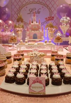 Dressed up brownies at a pink princess party! See more party planning ideas at CatchMyParty.com!