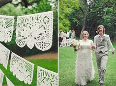 Mexican-Inspired Austin Wedding: Katie + Heather  the flags!