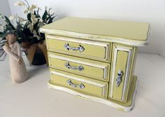 Wood Jewelry Box Vintage Upcycled Yellow by TreasuresbyMarylou, $40.00