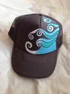 These hand painted trucker hats are SOooooo cute!