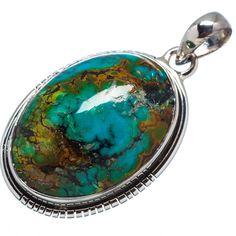 "Tibetan Turquoise 925 Sterling Silver Pendant 1 3/4"" Ana Co Jewelry P598954F #AnaSilverCo"