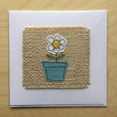Sewn flower in pot greetings card handmade card sewn card