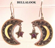 VINTAGE GRANULATED STERLING SILVER WITH GOLD OVERLAY HALF MOON AND STAR EARINGS #DANGLEDROP