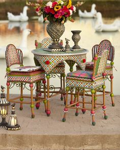 """Greenhouse Pub"" Table & Stool by MacKenzie-Childs at Neiman Marcus. Whimsical Painted Furniture, Hand Painted Furniture, Funky Furniture, Outdoor Furniture Sets, Painted Dressers, Dream Furniture, Plywood Furniture, Kids Furniture, Furniture Design"