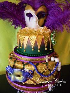 *Elegant mardi gras cake with fondant beads and masks