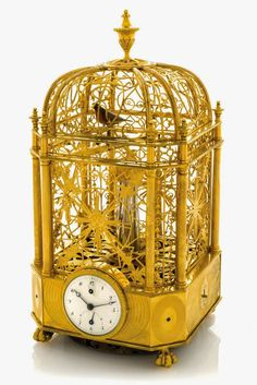 Exceptional Early & Small Singing Bird Cage Clock with Automaton Jumping Bird & Automaton Waterfall attributed to Jaquet-Droz et Leschot Geneva. The Caged Bird Sings, Cool Clocks, Unusual Clocks, Retro Clock, Grandfather Clock, Sistema Solar, Bird Cages, Antique Clocks, Objet D'art