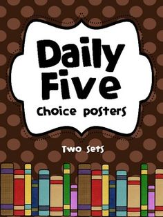 Use these to allow students to choose their Daily 5 choice. Students can show their choice using clothes pins. I will hole punch the posters and co...