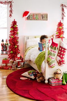 When you're decking the halls, don't forget to bring a little Christmas magic to the kids' rooms, too. If they're going to stay up all night waiting for Santa, they should do so in a space that's just as merry and bright as the rest of the house. Pier 1's Pre-Lit Skinny Entryway Tree is just the right size for a kid's bedroom.