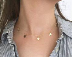 5 oro llena Star Princess y gargantilla, collar del encanto de la estrella, oro gargantilla estrella