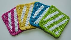 Summer Stripes Coaster - FREE Pattern (patched together would make a cool blanket, these colors especially)