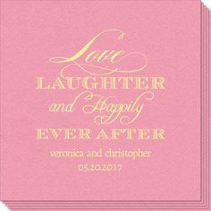 Love Laughter Ever After Linen Like Napkins