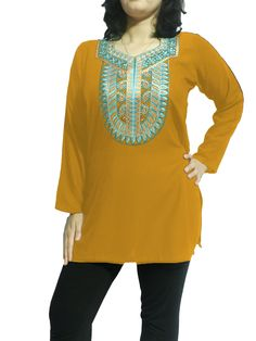 Women's Linen Top with Blue and Orange Embroidery in Various Colors (Customizable)