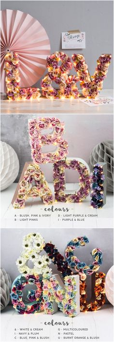 a set of floral letter lights - flower letter - rustic wedding sign - custom colours available - sweetheart table decor - barn wedding