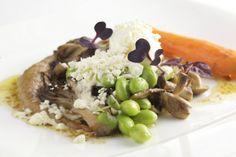 Forest mushrooms, olive oil powders, truffle carrot & mascarpone at Laris