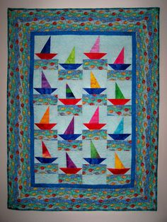 Baby boy  quilt- Sailboats