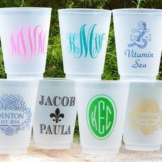 Personalized Clear Shatterproof Cups by Gracious Bridal. Guests will be sure to compliment this personalized touch at your party and will have a fun reminder of your event while using these at their home.
