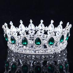 2017 Vert Cristal Or Couleur Chic Royal Regal Scintillant Strass Diadèmes Et Couronnes De Mariée Quinceanera Pageant Diadèmes