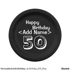 Personalized 50th Birthday Paper Party Plates ~ Black and White Over the Hill Theme  http://www.zazzle.com/personalized_50th_birthday_paper_plates_black-256187895750994757?rf=238090244331062886  #50thbirthday  #50thbirthdayparty #zazzle