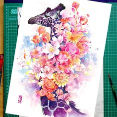 """The Tree of Happiness""  Watercolor on Canson Montval size 29,7x42cm 300gsm. Original painting available in my store artjongkie.bigcartel.com.   #watercolor #watercolours #watercolour #illustration #painting #artwork #animal #giraffe #flowers by #jongkie"