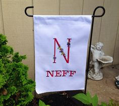A personal favorite from my Etsy shop https://www.etsy.com/listing/234109708/personalized-embroidered-yard-flag
