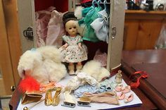 1950'S GINGER DOLL W/TRUNK FULL OF CLOTHES AND ACCESSORY'S .I LOVE HER HIGH FOREHEAD.NOT SOMETHING YOU SEE OFTEN IN DOLLS