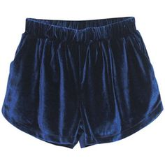 High Waist Drape Blue Velour Shorts